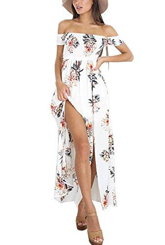 Vestido de verano para mujer, largo, para playa, noche, sin hombros, elegante, estampado floral, 088-blanco, L