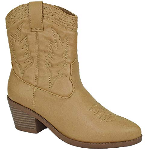 Soda Women Cowgirl Cowboy Western Stitched Ankle Boots Pointy Toe Picotee Beige Blond 8.5