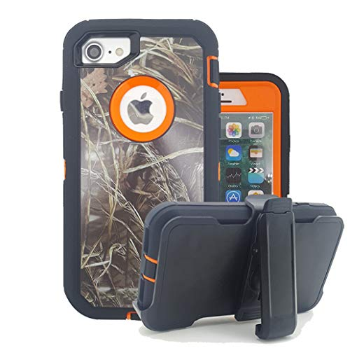 iPhone 8 Camo Case, HarseL Heavy Duty Camouflage Tree Impact Resistant Tough Hybrid Rugged Armor Military Defender Case with Swivel Belt Clip Built-in Screen Protector for iPhone 7/8