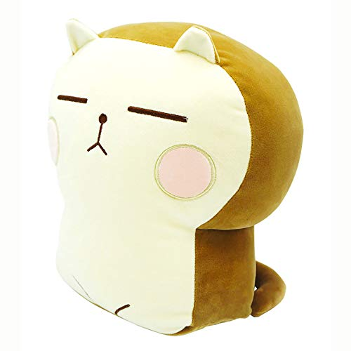 Onsoyours Plush Cat Doll Pillow Stuffed Chubby Cat Cute Fluffy Soft Plush Bread Toast Cat Cushion Animal Pillow for Kids (Brown Pink, 13 inch)