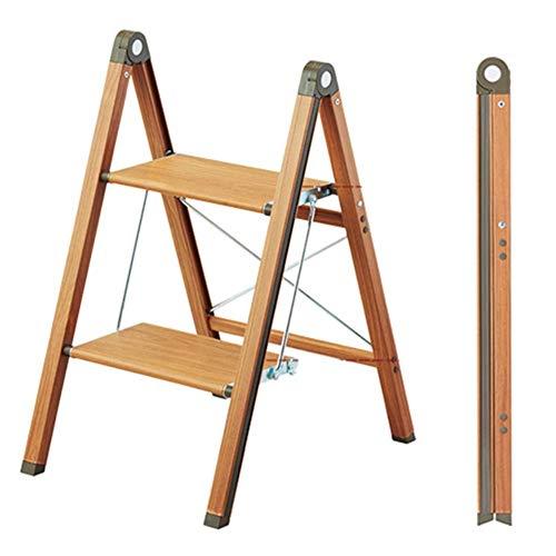 LSK-Hockerleiter Holz Klappbarer Leiterstuhl Hockerleiter Kleine Leiter Regal Trittleiter (Color : A)