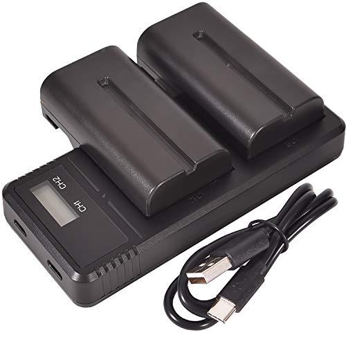 (2 Pack) NP-F550 DSTE Repuesto Batería + Cargador LCD Dual de Carga rápida Compatible para NP-F330, NP-F530, NP-F570 y Sony CCD-RV100, CCD-RV200, CCD-SC5, CCD-SC5/E, CCD-SC55E, CCD-SC55, CCD-SC6