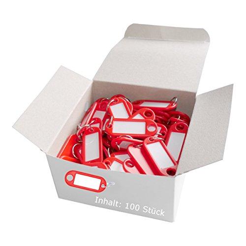 Wedo 262801802 Schlüsselanhänger Kunststoff (mit Ring, auswechselbare Etiketten) 100 Stück, rot