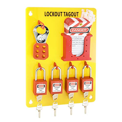 TRADESAFE M Lockout Tagout Station with Loto Devices. Lock Out Tag Out Kit Board with 4 Pack Safety Lock Set, Hasp for Padlocks, 20 Do Not Operate Tags for Lockout Safety Supply OSHA Compliance