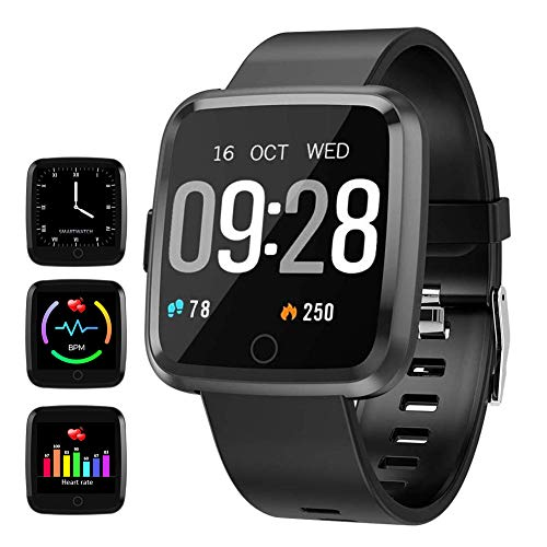 feifuns Smart Watch, Fitness Activity Tracker with Change Brightness Screen, IP67 Waterproof Fit Watch Wristband Pedometer Watch with Heart Rate Sleep Monitor for Android & iPhone (Black)