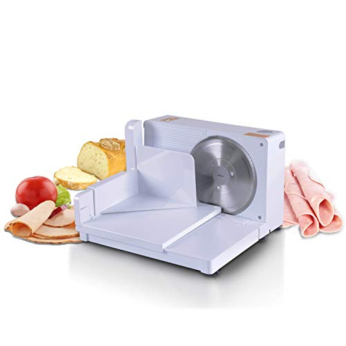 "SuperHandy Meat Slicer Electric Food Deli Bread Cheese Portable Collapsible 6.7"" inch Stainless Steel RSG Solingen Blade"