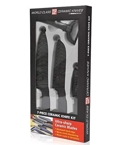 Miracle Blade World Class Series Black 7-piece Ceramic Knife Set- Sharpest Knives Never Lose their Preciison Cut: Never Loses Precision Cut & won't rust or stain.