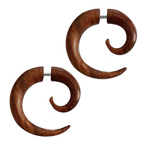 tumundo 2 Fake-Plugs Horn Knochen Ohrstecker Ohrring Spiralen Piercing Braun Schwarz Tunnel Dehnspirale Holz-Schmuck, Farbe:Sonoholz - braun