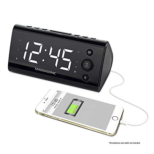 "Magnasonic Alarm Clock Radio with USB Charging for Smartphones & Tablets Includes Dual Alarm, Battery Backup, Auto Time Set & 1.2"" LED Display with 4 Dimming Options (EAAC470W)"