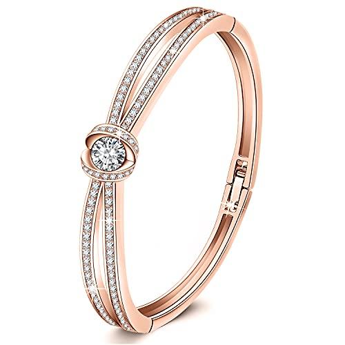 GEORGE · SMIT Klassisch Silber Armreif Armband für Damen Roségold Armband mit Kristall, Armband Damen Geburtstag Armband für Damen Mama