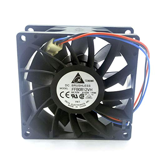 N / A Cooler Fan Delta FFB0812VH,8025 8cm DC12V 0.42A 3-Line Speed Double Ball Bearing Cooling Fan