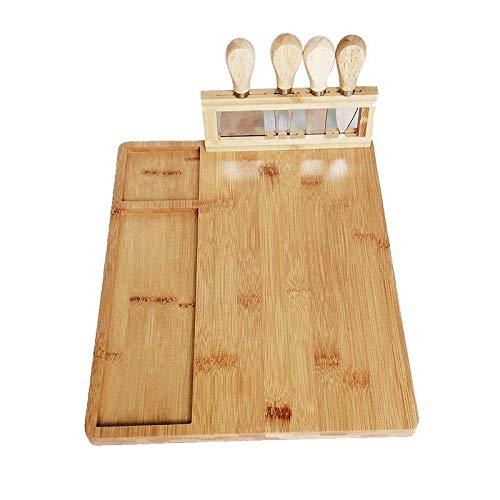 1 Conjunto Tablero de corte de tablero de queso de bambú con cuchillos de acero inoxidable Tablero de queso de bambú de cuatro piezas con cuchillas de acero inoxidable (Color : Wood color)