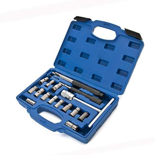 KFZTEILESCHNELLVERSAND24 17tlg Diesel Injektoren Injektor Fräser Dichtflächen Satz Dichtsitz Werkzeug kit