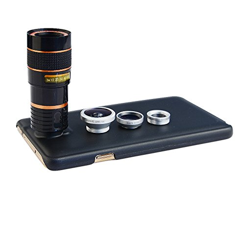Apexel 4 in 1 Wide Angle Macro + Fisheye + 8X Telephoto Lens with Back Case Cover for Samsung Galaxy Note 3 Silver