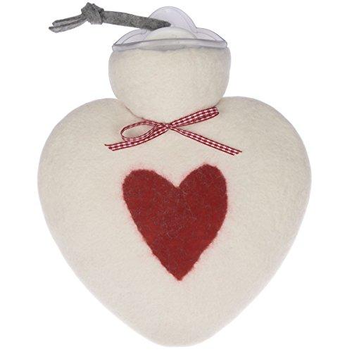 Wärmflasche/Herzwärmflasche 0,8 Liter mit Bezug aus Merinowolle gefilzt weiß mit rotem Herz von Dorothee Lehnen
