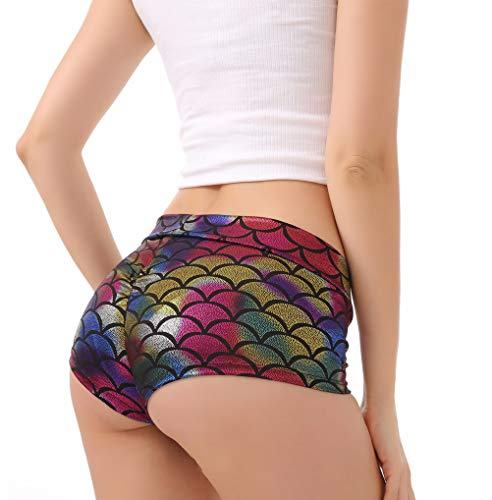 Kepblom Women's Sexy Shiny Mermaid Fish Scale Shorts Shiny Metallic Rave Booty Shorts Hot Pants Dance Bottoms (Mermaid Rainbow, Medium)