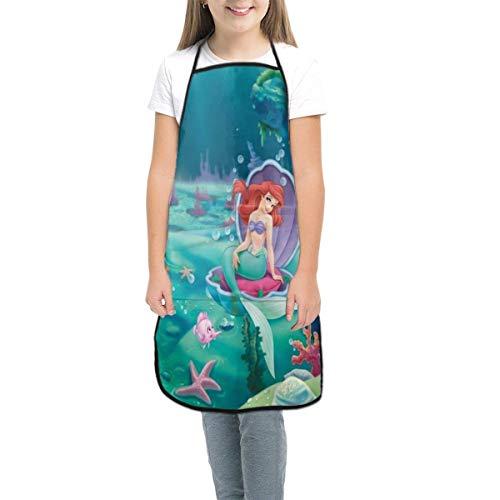 Pag Crane Tablier Enfant avec Poche, Belle Princesse Ariel Tablier bavette réglable pour Les Enfants, Cuisine, Peinture, Cuisson