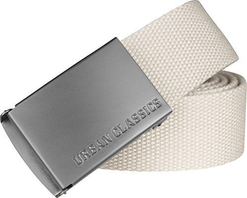 URBAN CLASSICS, Cinturón Canvas Unisex, Cinturón para Hombre y Mujer, Correa de Tela, Cinturón de Cuerda sin Agujeros, con Logo en la Hebilla Cuadrada, Distintos Colores