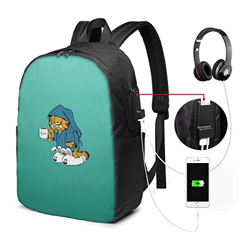 AOOEDM USB Backpack 17 in Garfield Laptop Backpack- with USB Charging Port/Stylish Casual Waterproof Backpacks Fits Most 17/15.6 Inch Laptops and Tablets/for Work Travel School