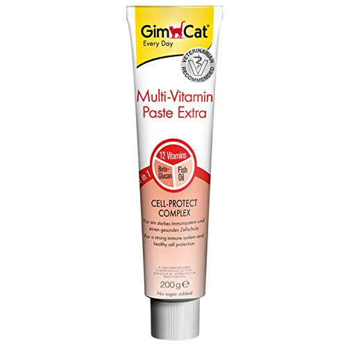 GimCat Multi-Vitamin Paste Extra - Katzensnack mit Beta-Glucan und Omega 3&6 für gesunden Zellschutz - 1 Tube