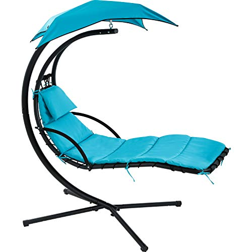 Patio Chair Hammock Stand Outdoor Chair Swings for Adults Hanging Chaise Lounger Chair Floating Chaise Canopy Swing Arc Stand Air Porch Lounge Chair for Patio Indoor (Blue)