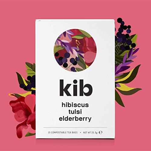 Kib Hibiscus, Tulsi, Elderberry Herbal Tea (Pack of 4, Total 60 Tea Bags)