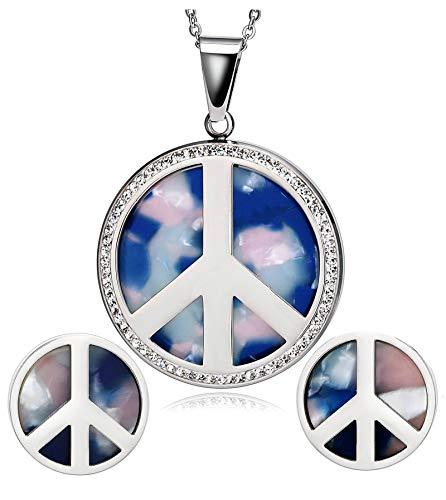 Aundiz Juego de collar y pendientes de acero inoxidable para mujer, diseño de avión con colgante de circonita, color plateado y azul
