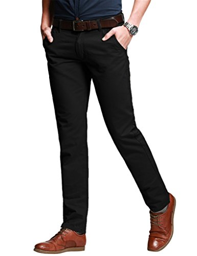 Match Men's Fit Tapered Stretchy Casual Pants (34W x 31L, 8103 Black)