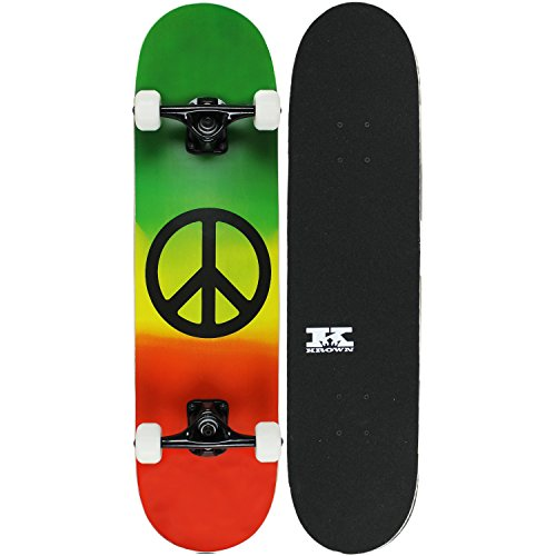 Krown Intro Skateboard, Vermelho/Rasta Peace
