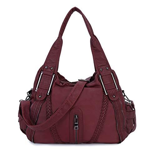 Leder Damenhandtasche Große Reise-Umhängetasche Henkeltasche Crossbody Schultertasche für Reisen Schule Shopping - Burgund rot