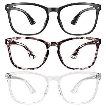 3 Pack SIPU Blue Light Blocking Glasses Fashion Square Nerd Eyeglasses for Women Men Anti Blue Ray Computer Game Glasses Non Prescription Valentines Day