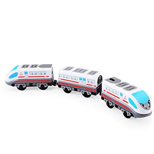 LGYKUMEG Ferrocarril eléctrico para ferrocarril de Madera, ferrocarril Lok Trane de ferrocarril de Madera Tren Juguete eléctrico niños locomotor ferrocarril eléctrico loc,A