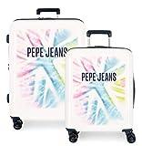 Pepe Jeans Eevie Juego de Maletas Multicolor 55/70 cms Rígida ABS Cierre TSA 119.5L 4 Ruedas Dobles Extensible Equipaje de Mano