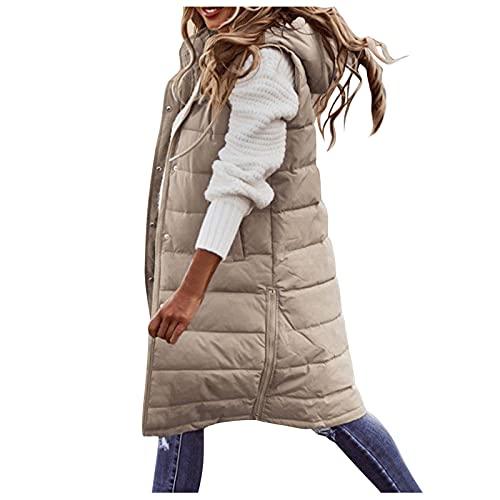 Uninevp Chaleco de plumón para mujer, abrigo largo de invierno con capucha, abrigo de invierno sin mangas, cálido, de plumón, con bolsillos, chaqueta acolchada para exteriores, A1., XL