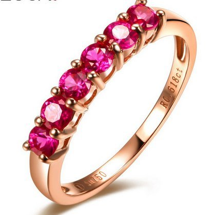 GOWE GEM FIRE Signs 0.6 CT Certified Burma Myanmar Pigeon Blood RED Ruby Wedding Band Ring 18K Rose Gold