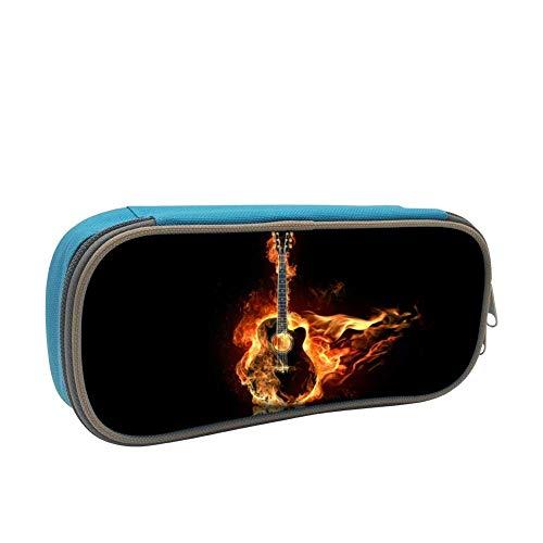 Estuche de lápices suave de gran capacidad para guitarra de fuego para niños con cremallera para niños y niñas azul BAG-205