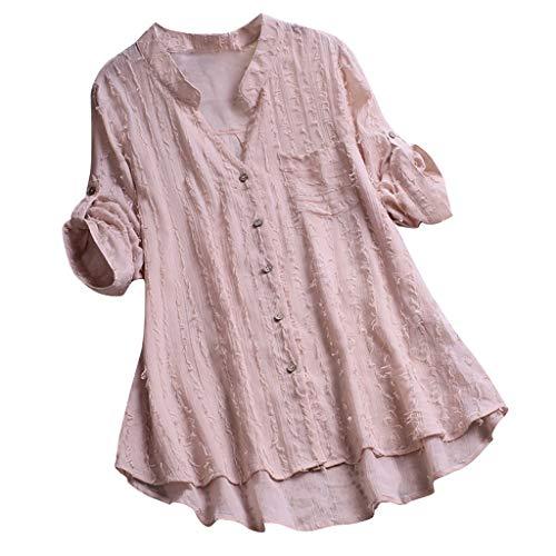 VEMOW Herbst Frühling Sommer Elegante Damen Frauen Stehkragen Langarm Casual Täglichen Party Strand Urlaub Lose Tunika Tops T-Shirt Bluse(Rosa, 52 DE / 5XL CN)