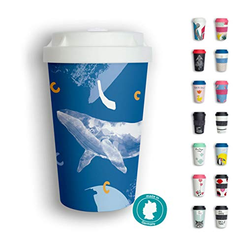 heybico Coffee to go Becher Made in Germany | Frei von Melamin & ohne Bambusfasern | Biologisch abbaubar & kompostierbar (Deep Sea)