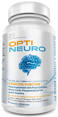 Optineuro mit Panthothensäure für geistige Leistungsfähigkeit | Premium Nootropikum Stack mit Guarana, L-Theanin, Cholin, Bacopa, Gingko Biloba, Tyrosin, Phosphatidylserin (PS), Coenzym Q10, B12 (Methylcobalamin) | 90 Kapseln
