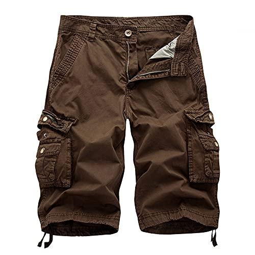 Huntrly Pantaloncini Casual da Uomo Pantaloncini Casual Larghi Europei e Americani Estivi Pantaloncini Tinta Unita Multitasche di Grandi Dimensioni 32