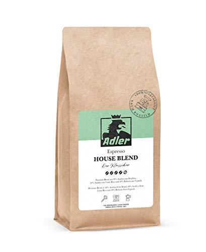 Adler Kaffee House Blend - Premium Espresso-Bohnen aus 70% Arabica und 30% Robusta - Für Siebträger und Vollautomat - 1-Kg Kaffee-Bohnen