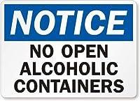2個 オープンアルコール容器サインなし、金属サイン、8 'x 12'
