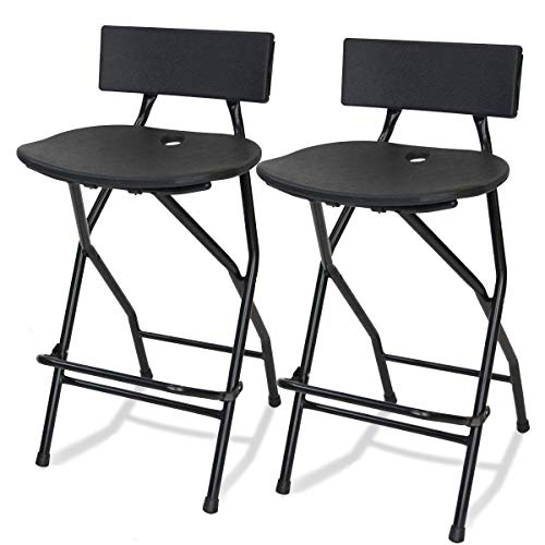 EventStable TitanPRO Folding Bar Stool with Backrest - Black Metal Frame Stool with Back Support - Durable and Sturdy Folding Stool for Outdoor Kitchen Shop Cafe - 2 Pack