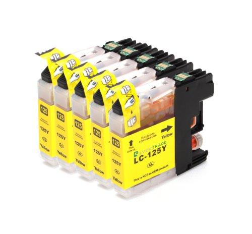 Multipack – 5x yellow Druckerpatronen (LC-125 Y) kompatibel zu BROTHER mit CHIP für Brother MFC-J4110 DW MFC-J4410 DW MFC-J4510 DW MFC-J4610 DW MFC-J4710 DW