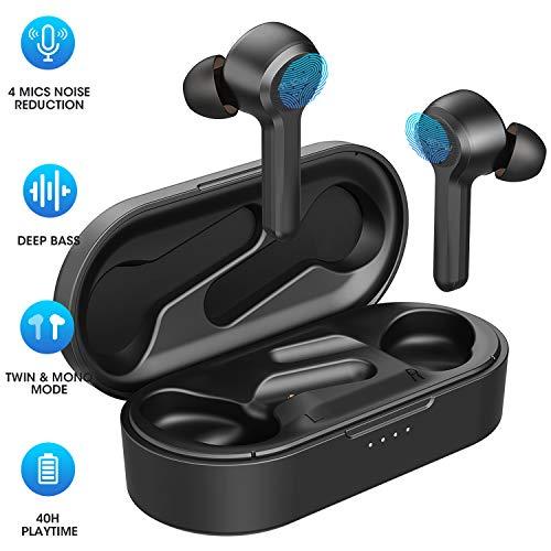 Bluetooth Kopfhörer, 4-Mic Noise Cancelling Mpow M9 Bluetooth Kopfhörer in Ear mit Bass Stereo/IPX8 Waterproof/40Std Sports Kopfhörer kabelloses Touch Sensoren/USB-C-Ladebox/Dual Modes for Sport, Work