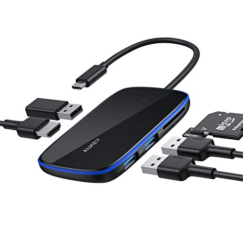 AUKEY Hub USB C Adattatore 6 in 1 con 3 Porte USB 3.0,Slot Schede SD e MicroSD,Porta HDMI Adattatore USB C Compatibile con MacBook Pro,Dell XPS 15,Google Chromebook Pixel,Samsung S9/S8 e LG G6/G5 ecc.