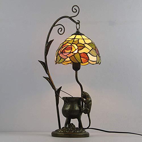 Lámpara de mesa estilo tiffany, lámpara de escalada de ratón Lámpara de mesa de noche retro de cristal teñido Lámparas para la lámpara para la iluminación del dormitorio del hotel Lámpara de escritori