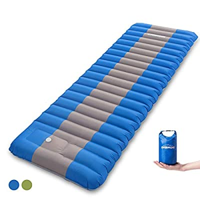Overmont Extra Thickness Sleeping Pad Inflatable Camping Mat Ultimate Air Mattress Compact Carry Bag Built-in Pump Waterproof for Backpacking Hiking Travel (Blue-White Cap, Regular)