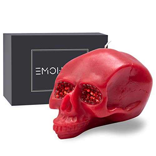 EMOHOME Mothers Day Large Skull Statue with Crystal Ornaments in Eye Pits Decorative Candle for Christmas Gift Halloween Decoration Horror Party Home Décor Novelty Gift ( Red )