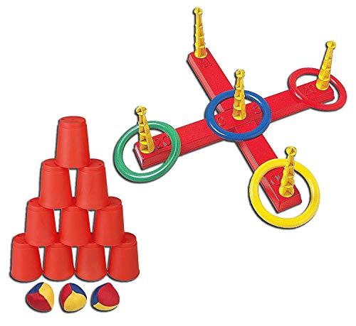Idena 40416 Ballwurfspiel mit 10 Bechern und 3 Bällen, bunt (Bunt, Ballwurfspiel + Ringwurfspiel)